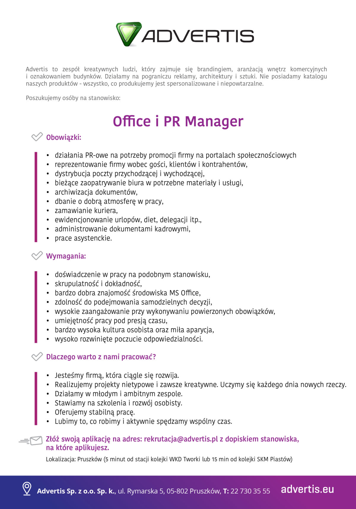 Szukamy – Office i PR Manager