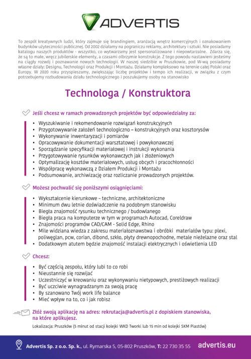 Szukamy – Technolog/Konstruktor